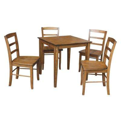 Dining Essentials 5 Piece Distressed Pecan Solid Wood Set