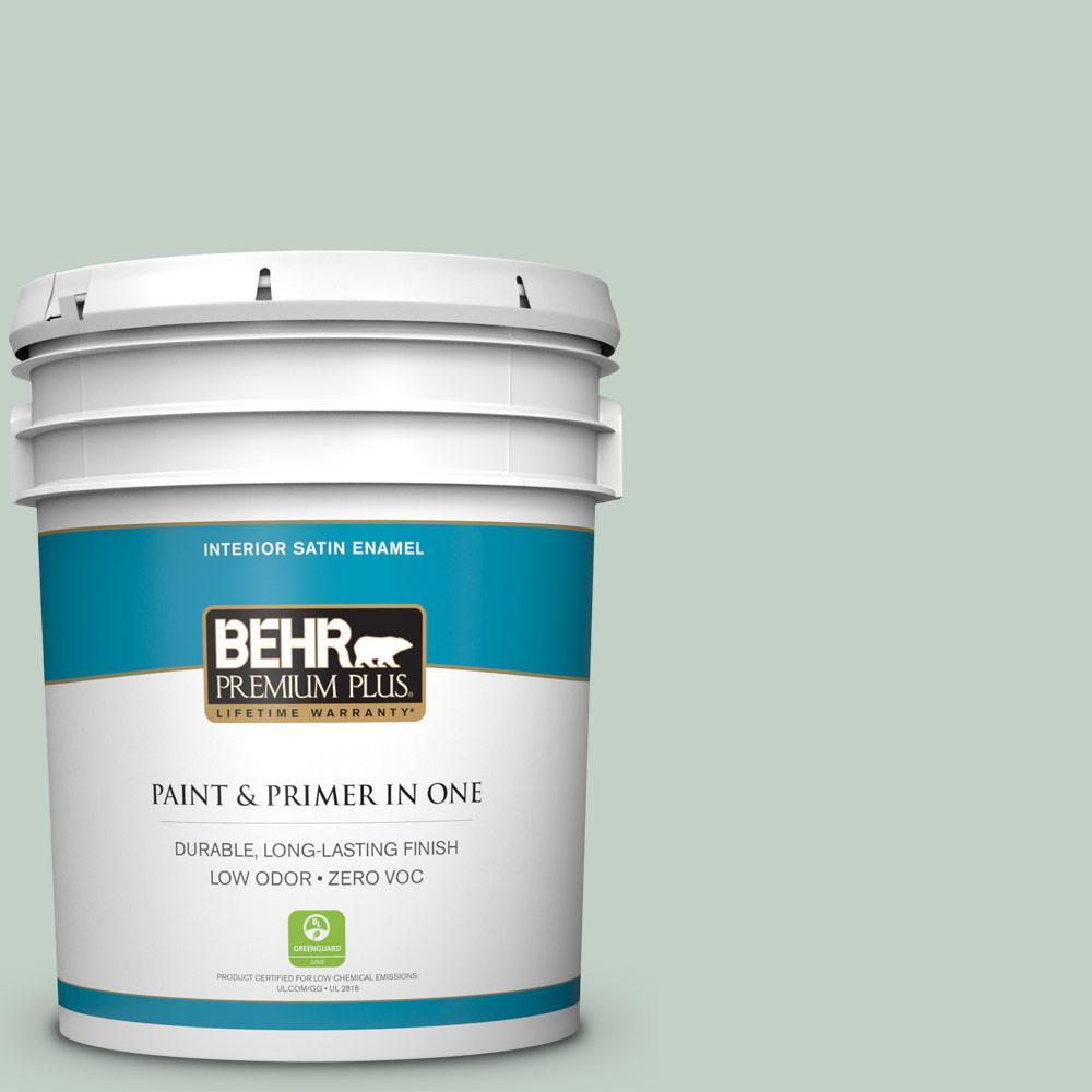 5 gal. #PPU11-13 Frosted Jade Zero VOC Satin Enamel Interior Paint