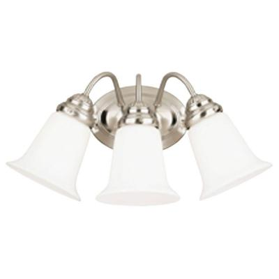 3-Light Brushed Nickel Interior Wall Fixture with White Opal Glass