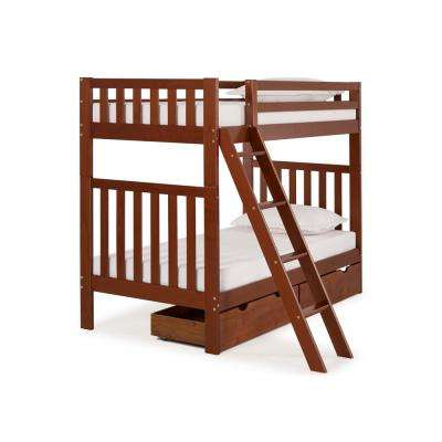 Aurora Chestnut  Twin Over Twin Bunk Bed with Storage Drawers