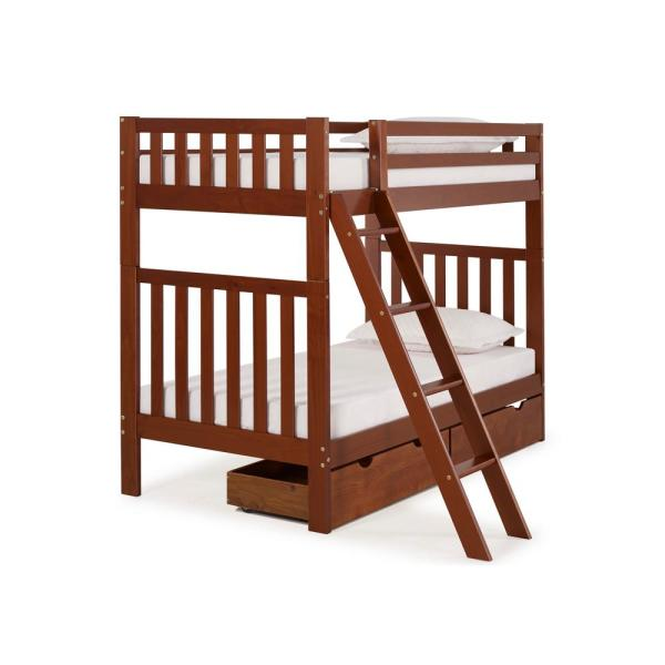 Alaterre Furniture Aurora Chestnut Twin Over Twin Bunk Bed with Storage