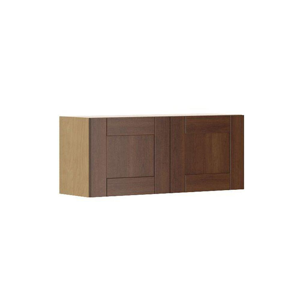 Ready to Assemble 36x15x12.5 in. Lyon Wall Bridge Cabinet in Maple