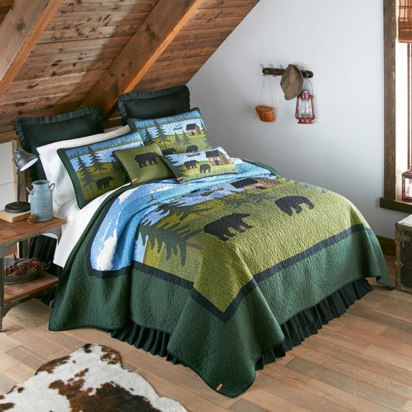 Bear River Green Cotton Queen Quilt Set (3-Piece)