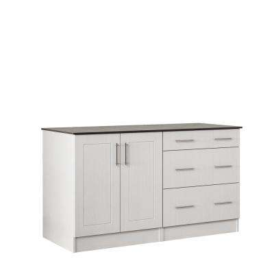 Palm Beach 59.5 in. Outdoor Cabinets with Countertop 2 Full Height Doors and 3-Drawer in White