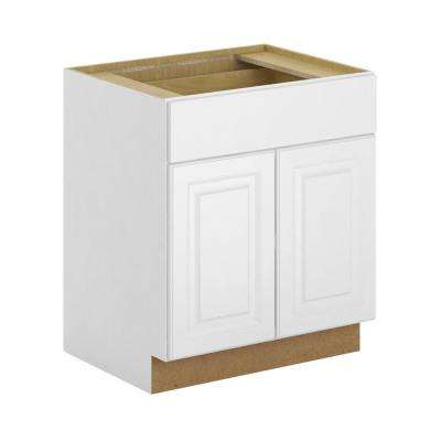 Madison Assembled 30x34.5x24 in. Base Cabinet with Soft Close Drawer in Warm White