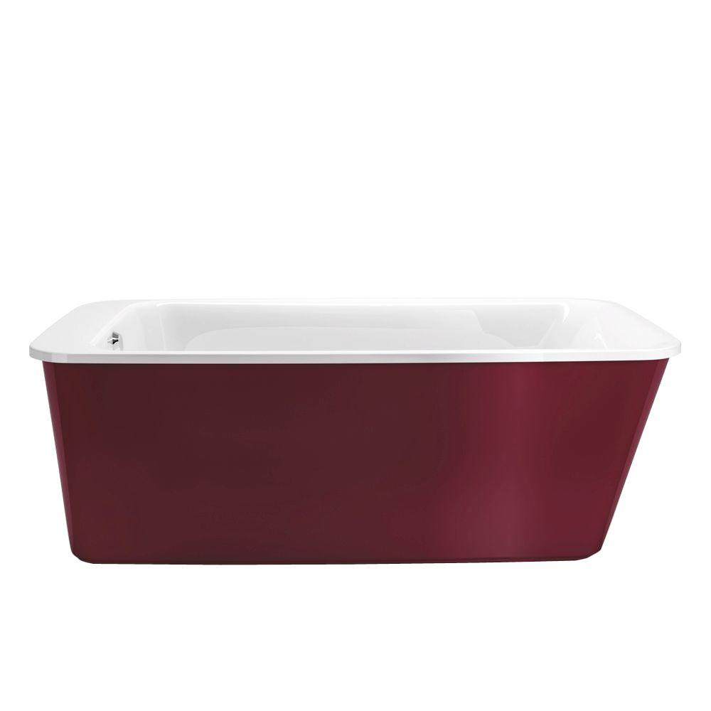 MAAX Lounge 5.3 ft. Freestanding Reversible Drain Bathtub in White with Ruby Apron