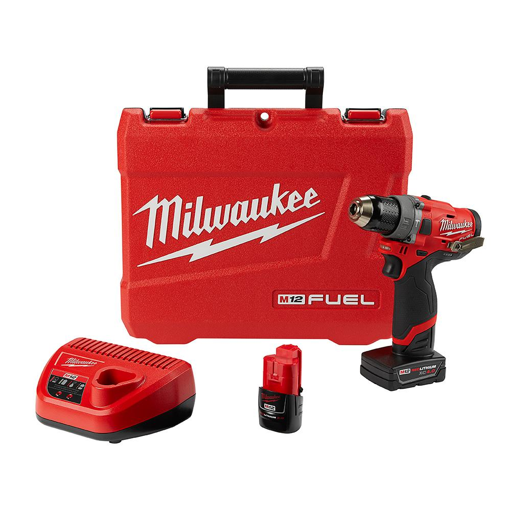 Milwaukee M12 FUEL 12-Volt Lithium-Ion Brushless Cordless 1/2 in  Hammer  Drill Kit with 4 0 Ah and 2 0 Ah Battery and Hard Case