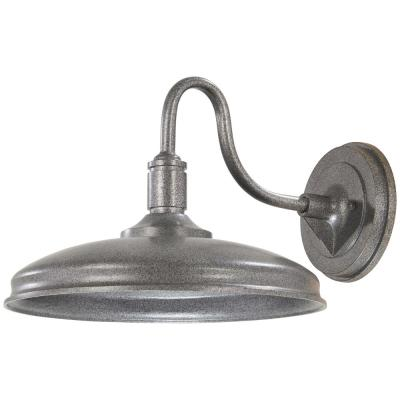 Harbison 1-Light Textured Silver Outdoor Integrated LED Wall Mount Barn Light Sconce Lantern