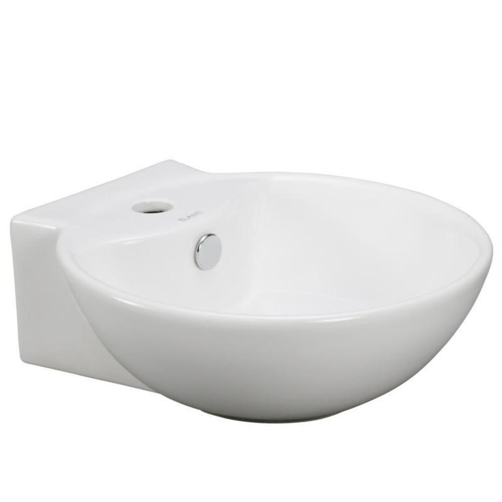 Elanti Wall Mounted Rounded Bathroom Sink In White Ec9819