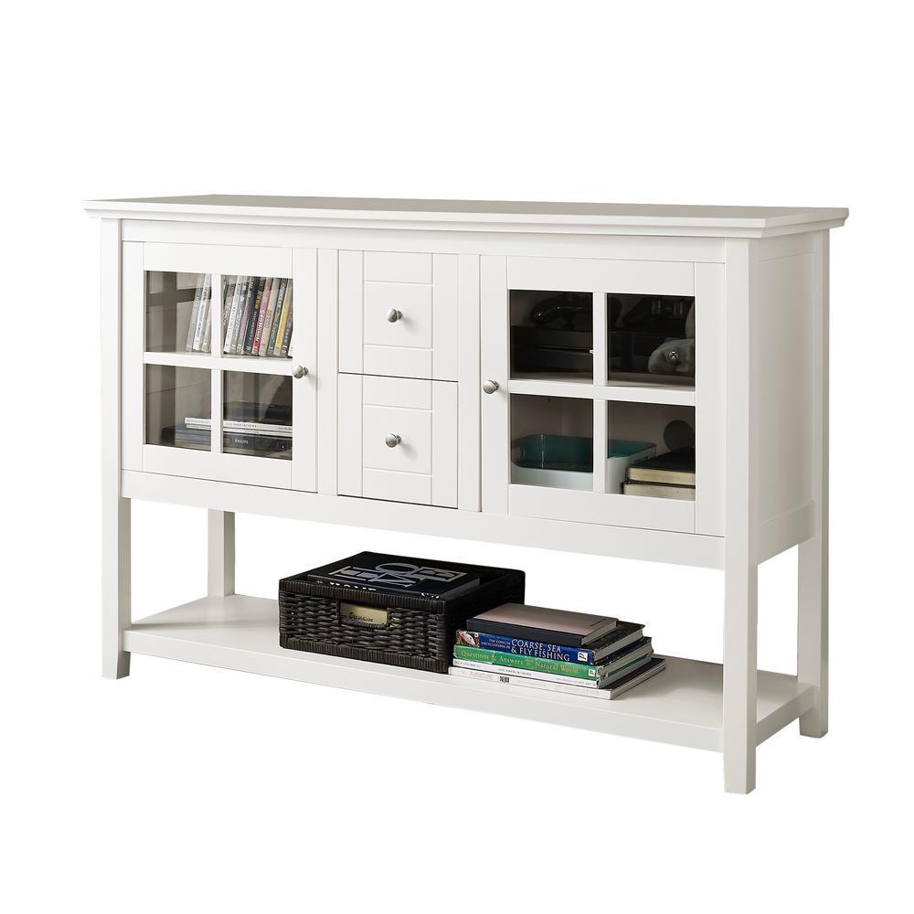 walker edison furniture company white buffet with storage - White Buffet