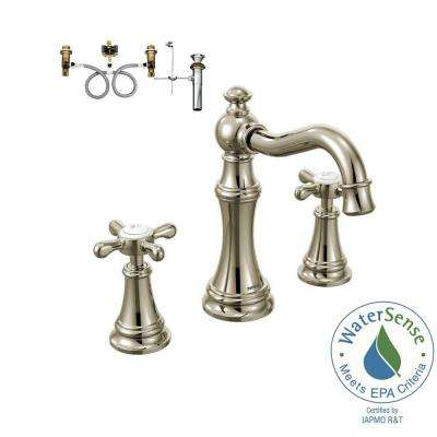 Weymouth 8 in. Widespread 2-Handle Bathroom Faucet Trim Kit with Valve in Polished Nickel