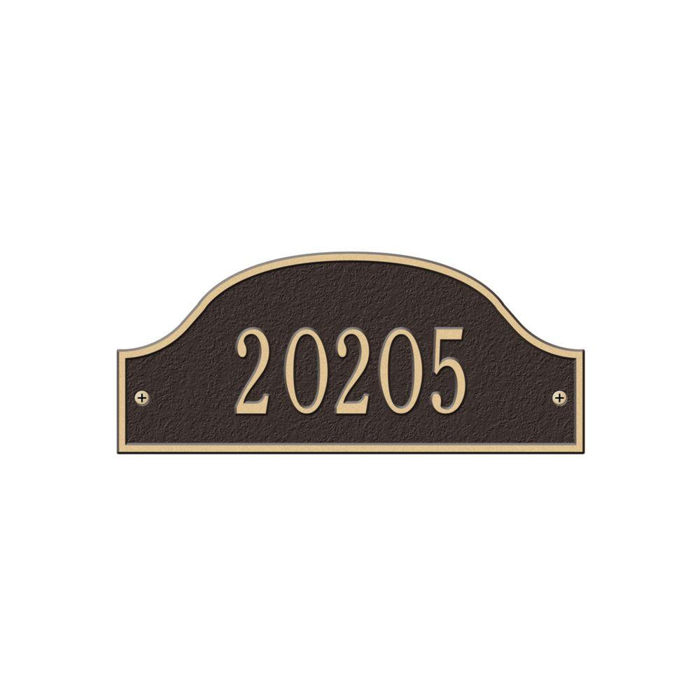 Admiral Petite Arch Bronze/Gold Wall One Line Address Plaque