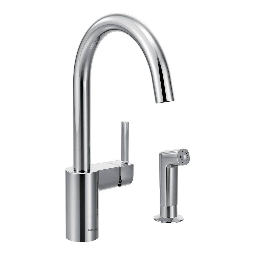 Peachy Moen Align Single Handle Standard Kitchen Faucet With Side Sprayer In Chrome Beutiful Home Inspiration Xortanetmahrainfo