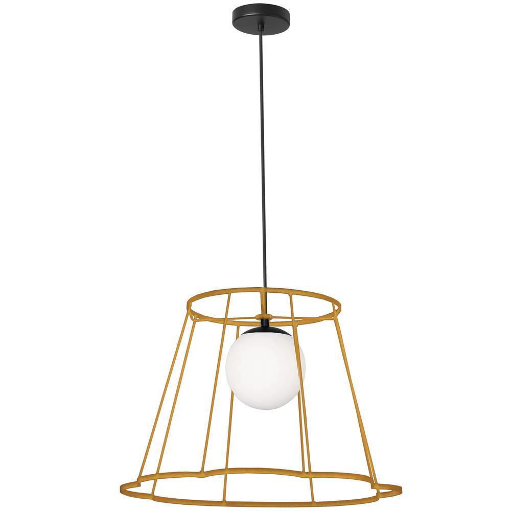 Balenko 1-Light Gold Pendant with Glass Shade