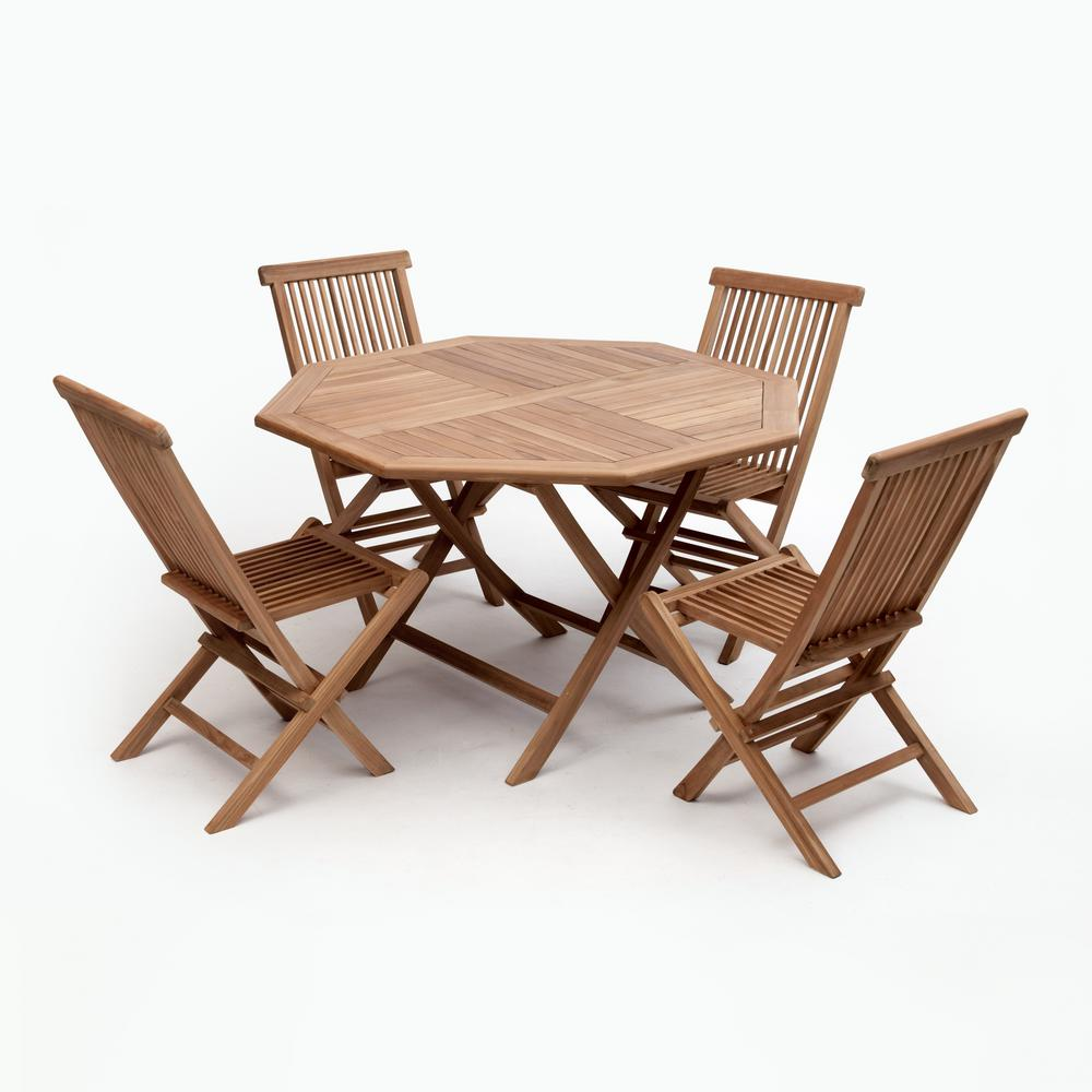 Bali Brown 5 Piece Wood Octagon Outdoor Dining Set Without Cushions