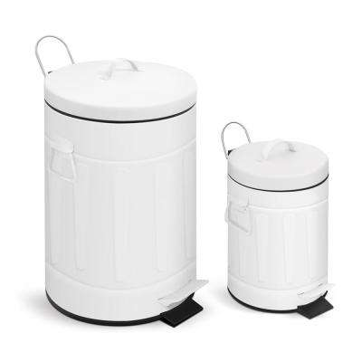 3.2 Gal./12-Liter and 0.8 Gal./ 3-Liter Old Time New York Style Round Shape White Color Metal Trash Can Set