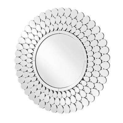 Emory 40 in. Contemporary Round Mirror with Clear MDF Frame, Round Shape, Mounting Type: D Ring