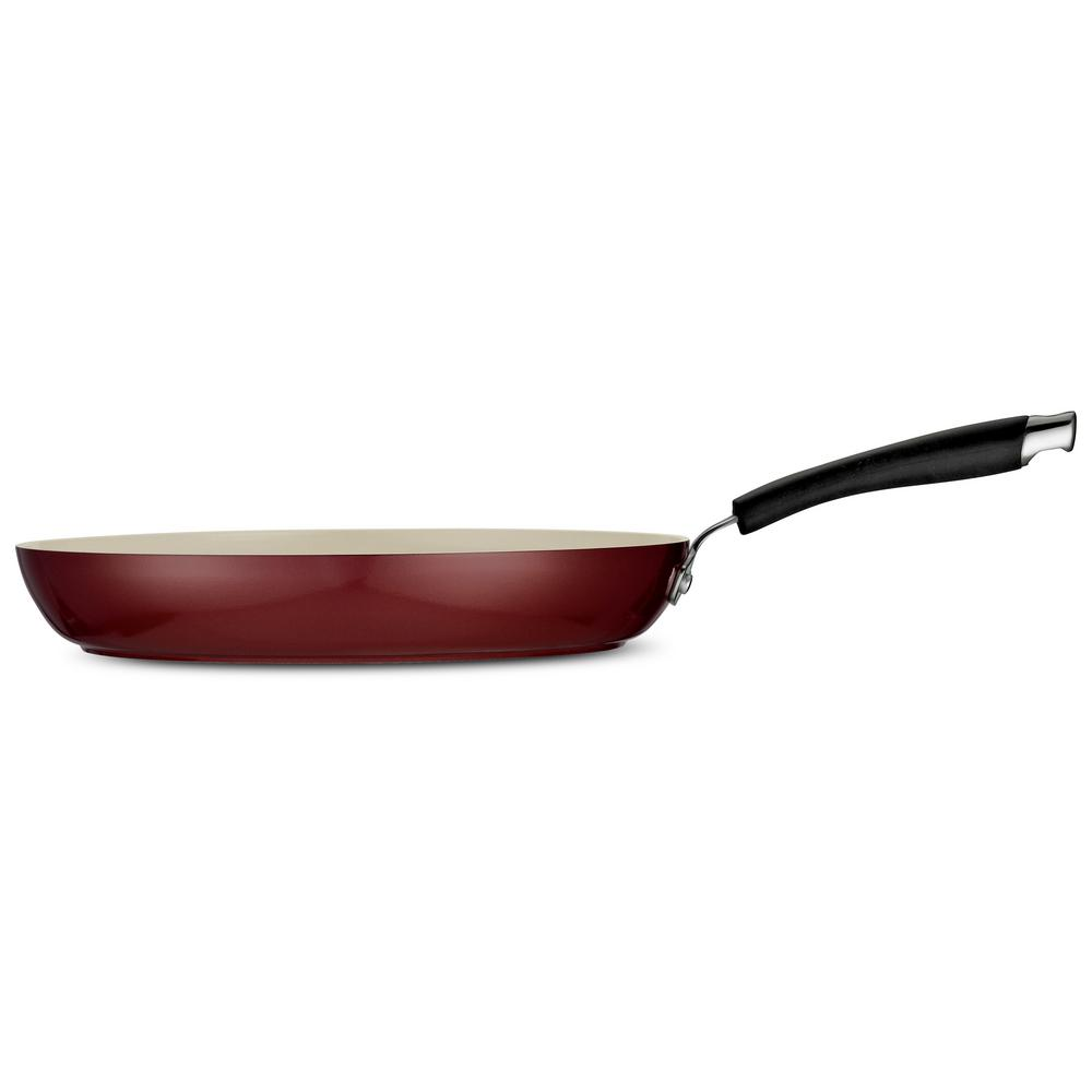 Style Ceramica 12 in. Fry Pan in Red Rhubarb
