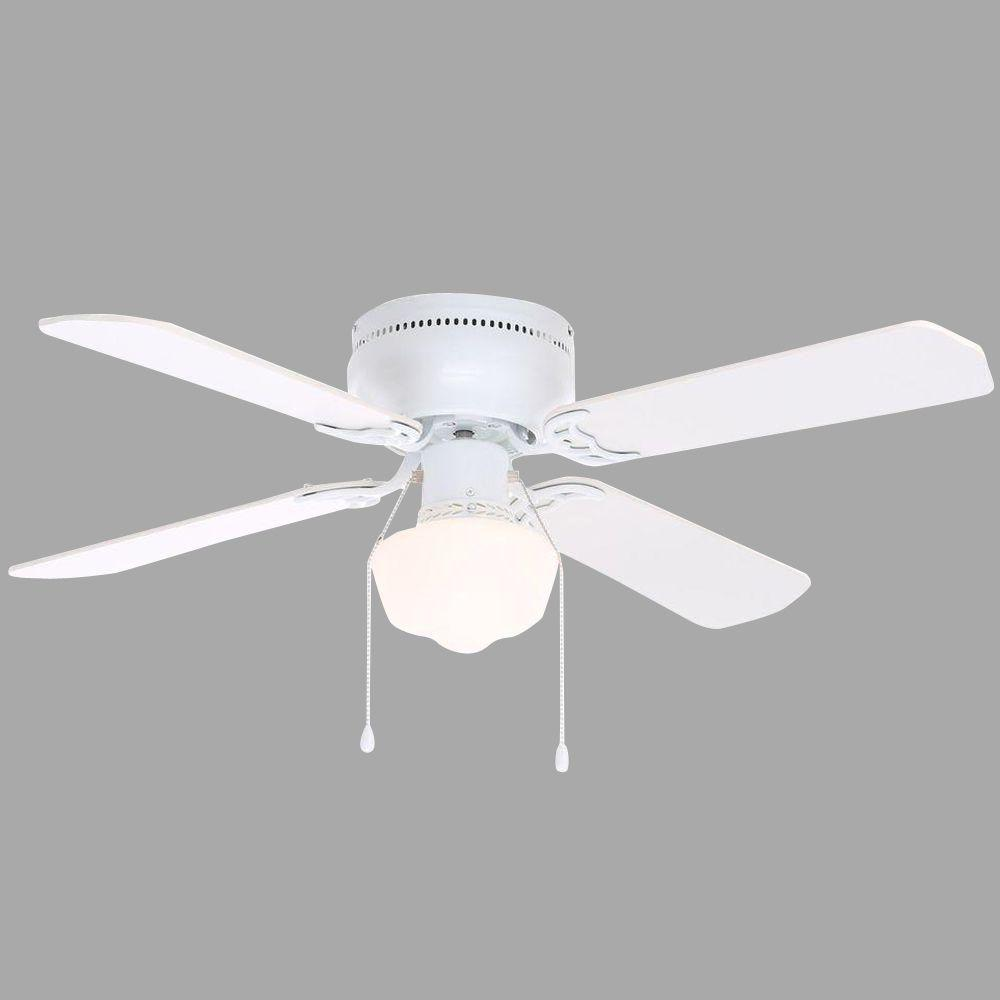 Hampton bay littleton 42 in indoor white ceiling fan with light indoor white ceiling fan with light kit ub42swh sh the home depot aloadofball Image collections