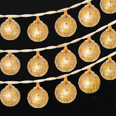 10 ft. 20-Light LED Moroccan Globe LED Fairy String Lights, Battery Powered Party Hanging Lights Decor (Warm White)