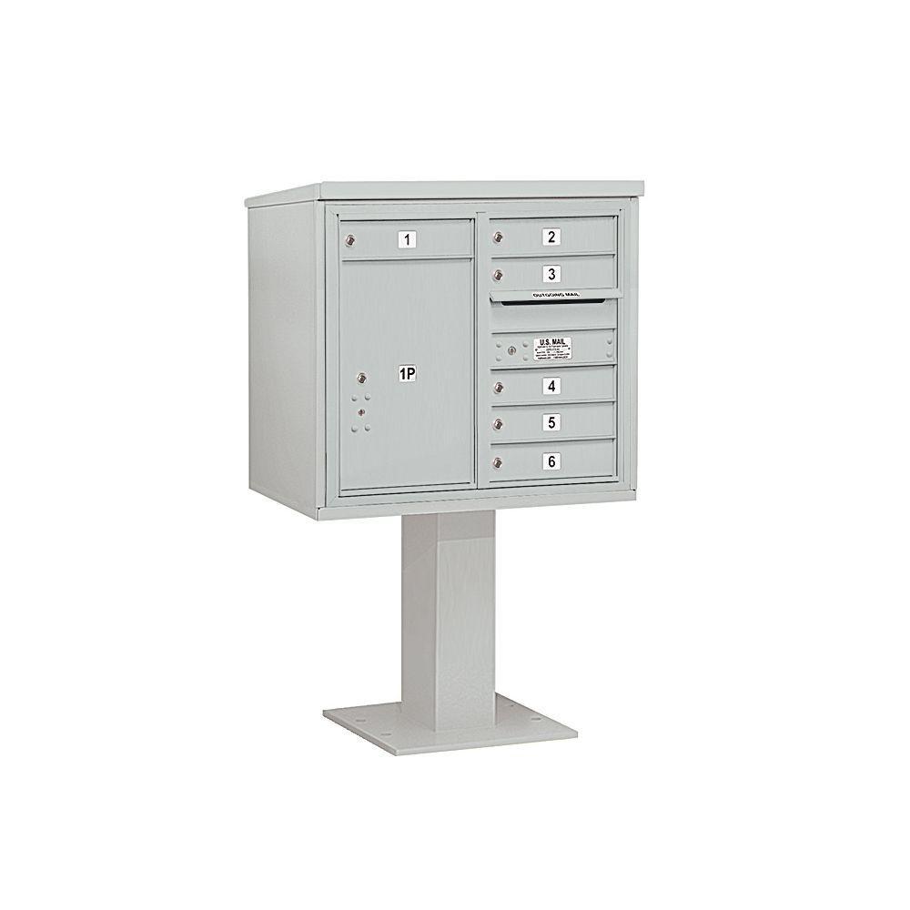 Salsbury Industries 3400 Series Gray Mount 4C Pedestal Mailbox with 6 MB1 Doors/1 PL6