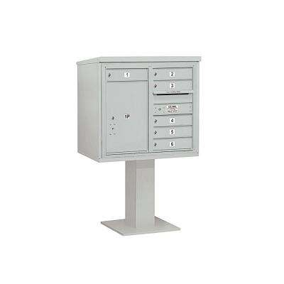 3400 Series Gray Mount 4C Pedestal Mailbox with 6 MB1 Doors/1 PL6