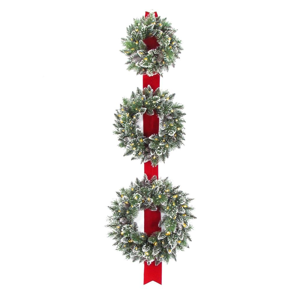 National Tree Company Glittery Bristle Triple 77 in. Artificial Wreath Door Hang with Battery Operated
