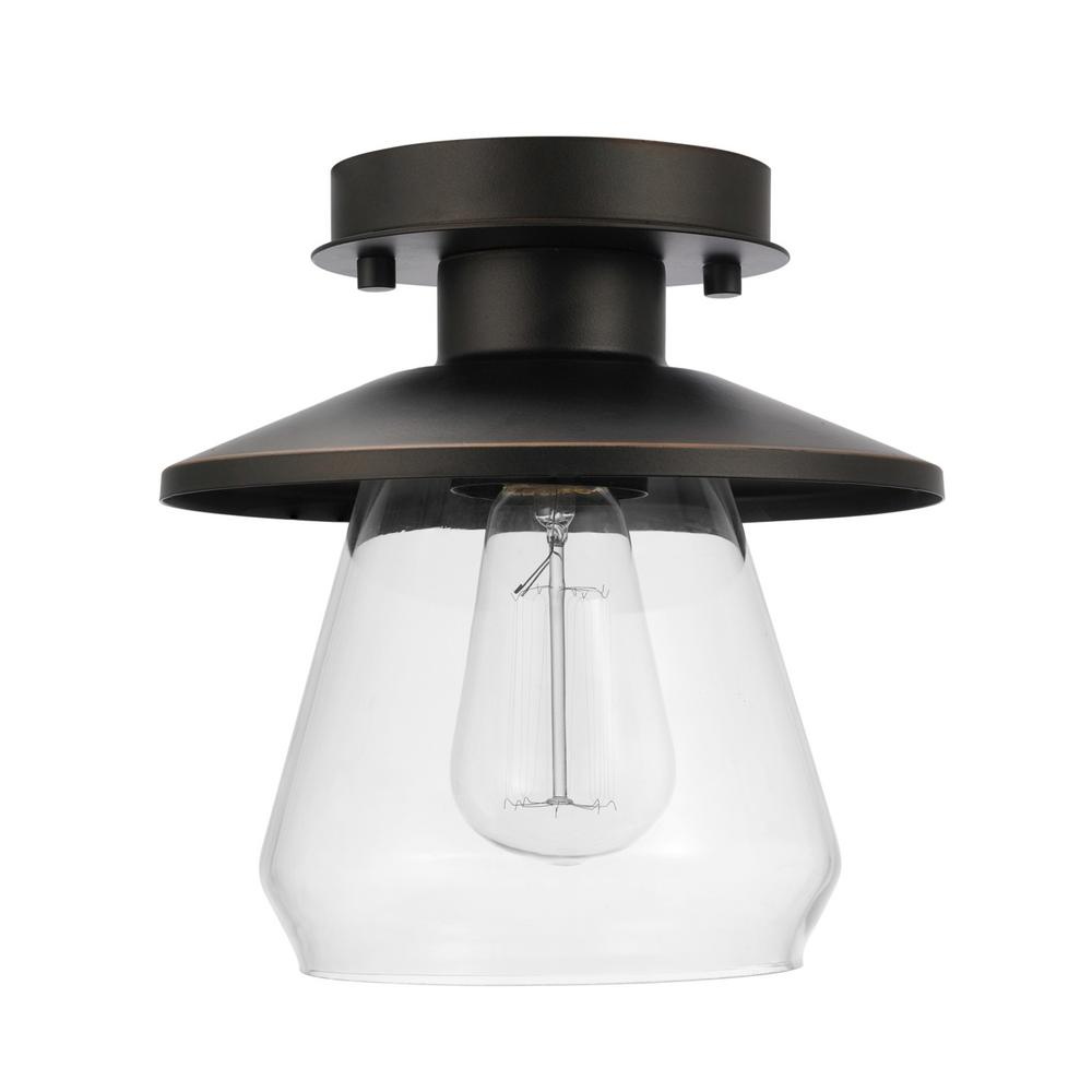 Globe Electric Vintage Semi Flush Mount Oil Rubbed Bronze And Gl Ceiling Light