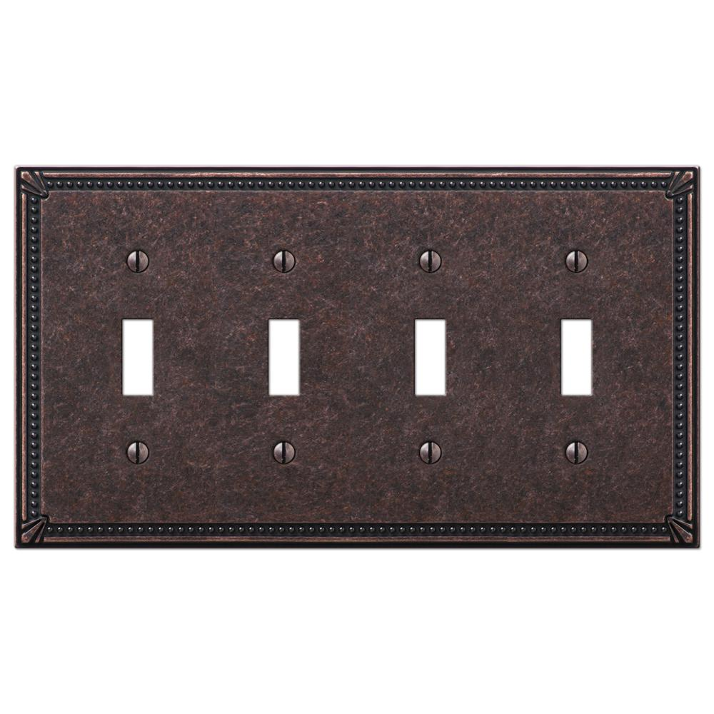 Amerelle Imperial Bead 4 Gang Toggle Metal Wall Plate