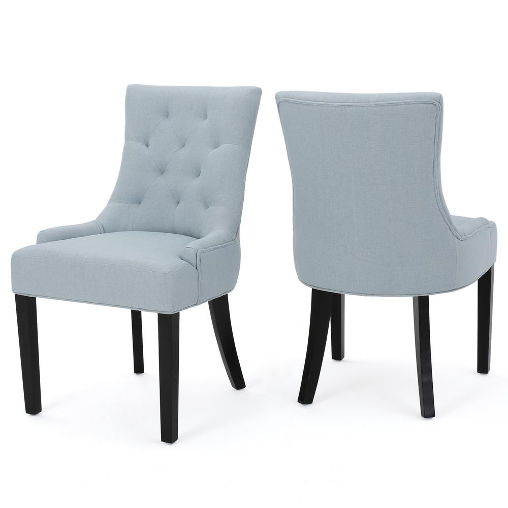 NobleHouse Noble House Hayden Light Sky Fabric Dining Chair (Set of 2)