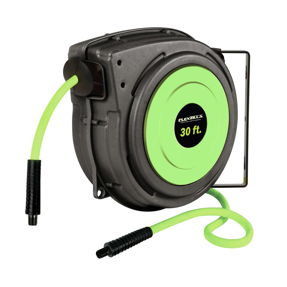 Enclosed 30 ft. Retractable Air Hose Reel with 3/8 in. Fittings