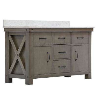 Aberdeen 60 in. W x 34 in. H Vanity in Gray with Marble Vanity Top in Carrara White with White Basins and Mirror