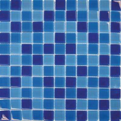 Blue Blend 12 in. x 12 in. x 8 mm Glass Mesh-Mounted Mosaic Tile (10 sq. ft./Case)