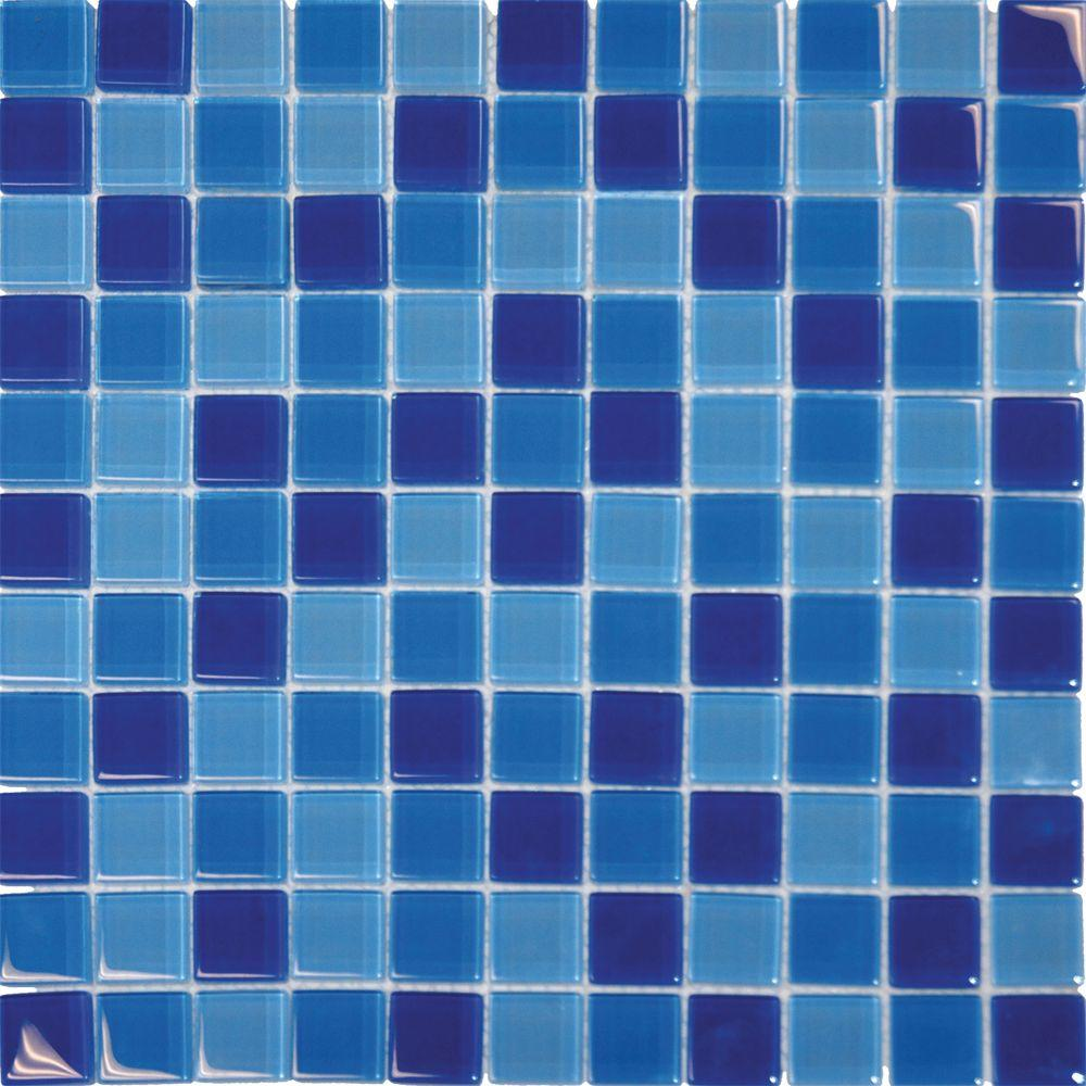 MSI Blue Blend 12 in. x 12 in. x 8 mm Glass Mesh-Mounted Mosaic Tile ...