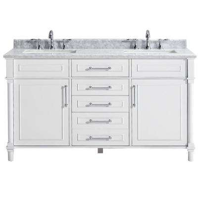 Aberdeen 60 In W Double Vanity In White With Carrara Marble Top With White Sinks