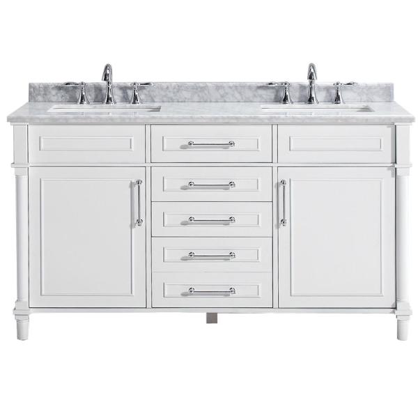 Aberdeen 60 in. W Double Vanity in White with Carrara Marble Top with White Sinks