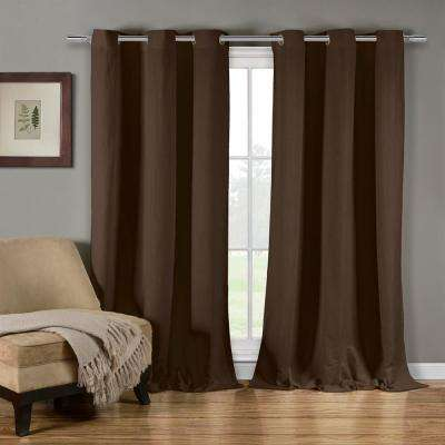 Mildred 38 in. W x 84 in. L Polyester Window Panel in Chocolate