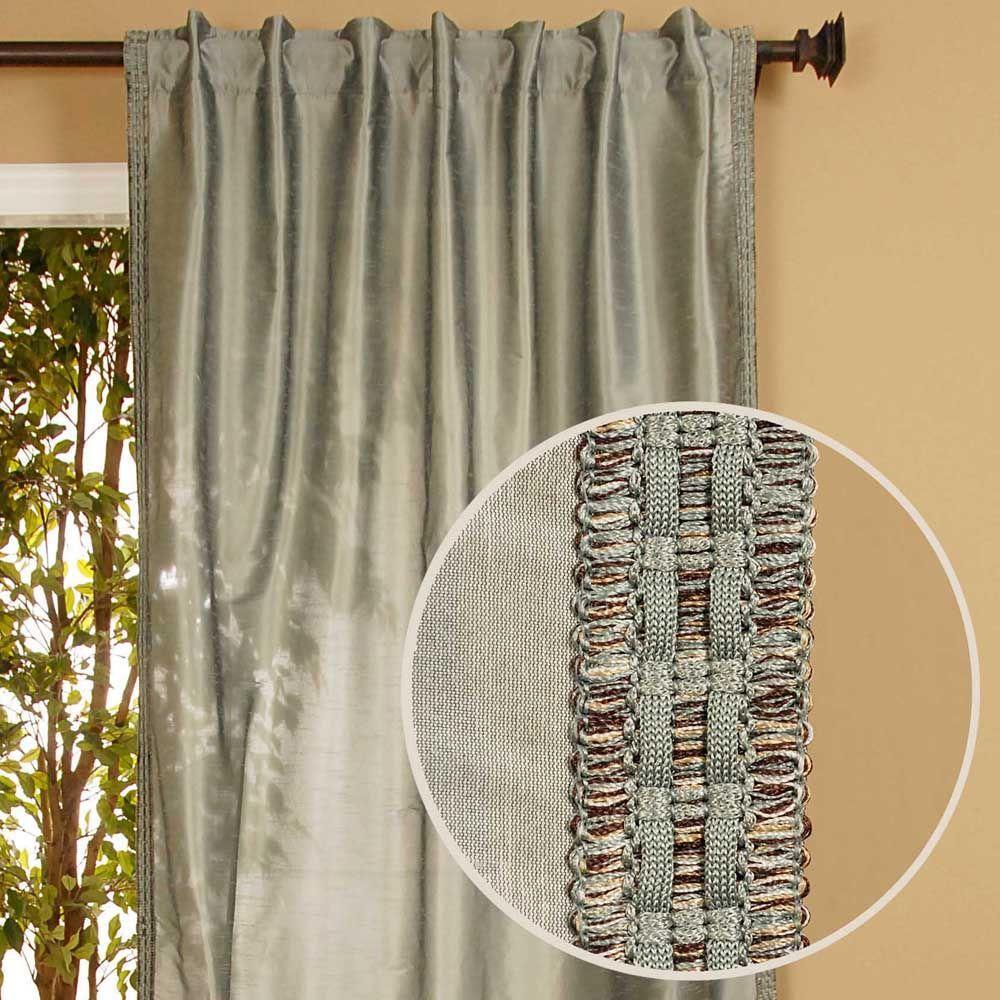 Home Decorators Collection Semi-Opaque Polysilk Rulu Blue Back Tab Curtain