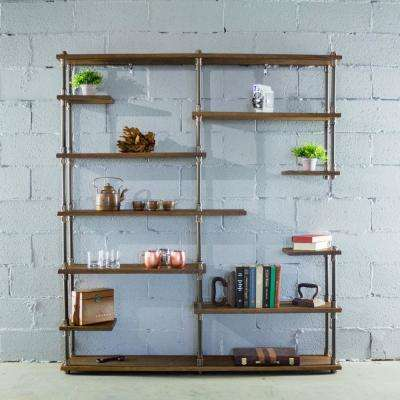 Nashville Industrial Mid-Century, Brown 64 in. Large Open Etagere 11-Shelf Pipe Bookcase-Metal-Reclaimed Wood