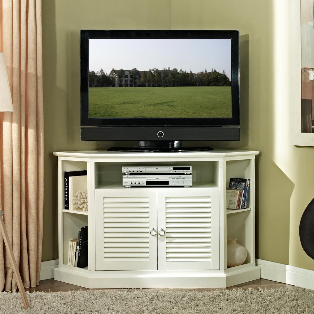 "52"" Transitional Wood Corner TV Stand - White"