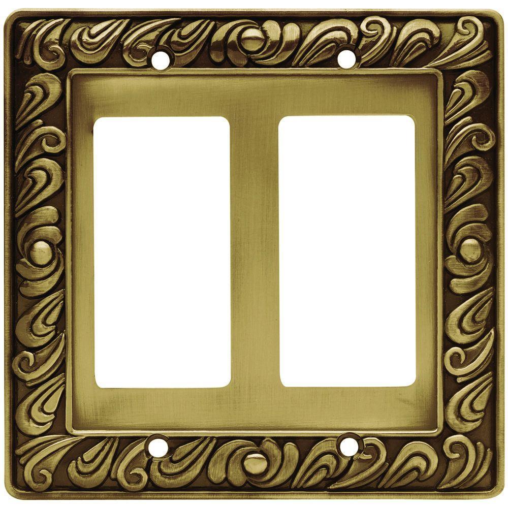 Brass 2-Gang Decorator/Rocker Wall Plate (1-Pack)