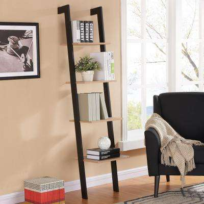 70 in. H Rustic Weathered Oak and Black Leaning 4 Level Shelf