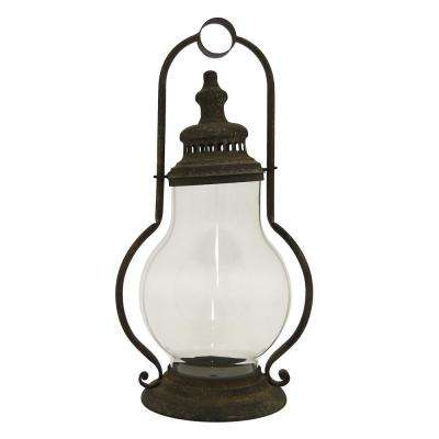 20.5 in. Brown Metal Decorative Lantern