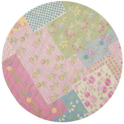 Kids Pink/Multi 6 ft. x 6 ft. Round Area Rug