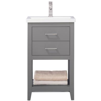 Cara 20 in. W x 15 in. D Bath Vanity in Gray with Porcelain Vanity Top in White with White Basin