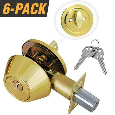 Solid Brass Entry Door Lock Single Cylinder Deadbolt with 12 KW1 Keys (6-Pack, Keyed Alike)