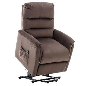 Brown Powel Lift Recliner Chair with Remote Control for Elderly, Heavy Duty and Soft Fabric Sofa for Living Room