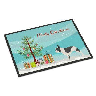18 in. x 27 in. Indoor/Outdoor French Bulldog Merry Christmas Tree Door Mat