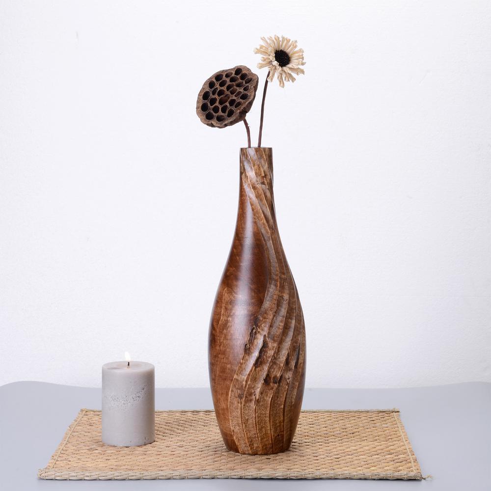 15 in. Tall Handmade Decorative Tear Drop Mango Wood Vase in Brown