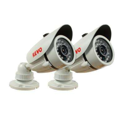 1200 TVL Indoor/Outdoor Bullet Surveillance Camera with 100 ft. Night Vision and BNC Conversion Kit (2-Pack)